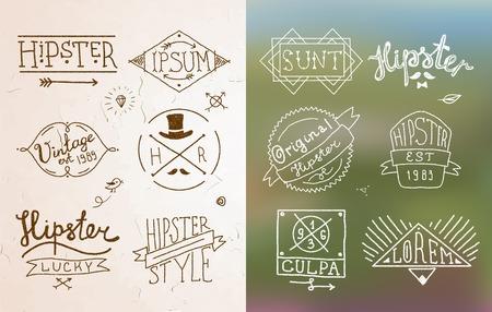 Hipster vintage design calligraphic badge label and emblem in sketch style illustration Vector