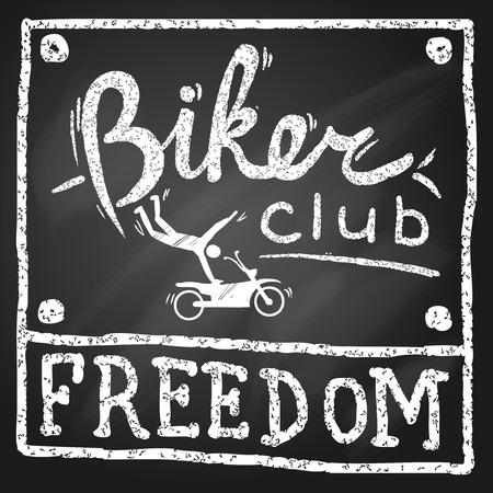 title hands: Vintage motorbikes club poster in sketch chalkboard style illustration