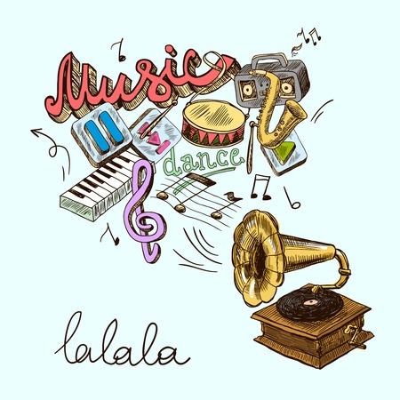 Musica grammofono sfondo con colori icone retrò d'epoca in schizzo stile illustrazione Archivio Fotografico - 30352401