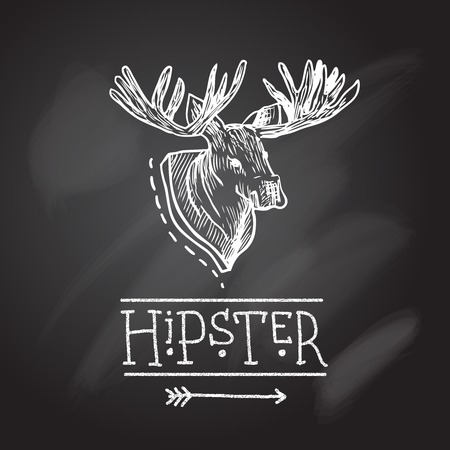 chalk outline: deer head hipster retro poster with text in sketch style on chalkboard illustration