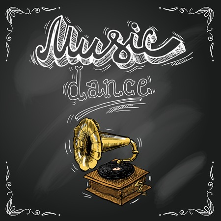 gramophone: Retro vintage gramophone in sketch style on chalkboard background for dance party poster flyer illustration