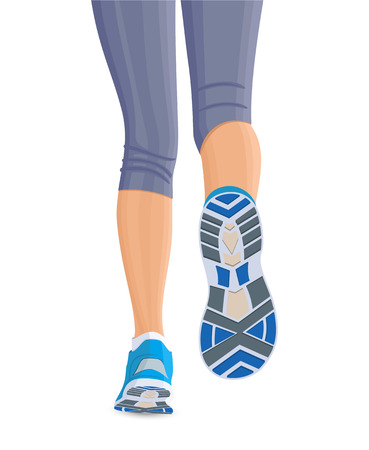 신발 여성 여자 다리를 실행하면 흰색 배경 일러스트 레이 션에 고립 일러스트