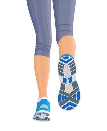 séta: Futás nő nő lábát cipő elszigetelt fehér háttér illusztráció