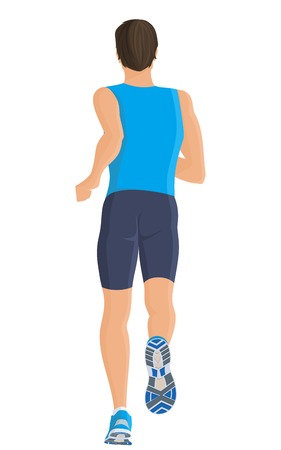 white people: Male running full length body of healthy lifestyle isolated on white background illustration
