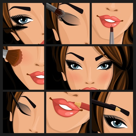make up model: Make-up beauty woman set of lips eyes face on black background illustration