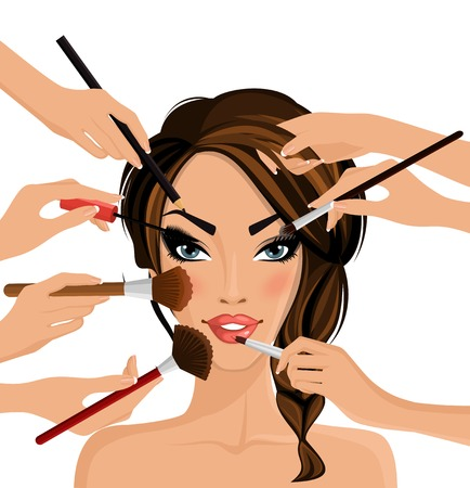 make up brush: Molte mani con cosmetici pennello facendo il make up di glamour ragazza illustrazione