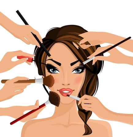 maquillaje de ojos: Muchas manos con un cepillo de cosméticos haciendo componen de ilustración muchacha glamour