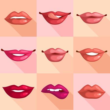 lengua larga: Conjunto de boca sonrisa rojos labios de mujer sexy en el estilo de ilustraci�n plana