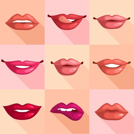 long tongue: Set of mouth smile red sexy woman lips in flat style illustration