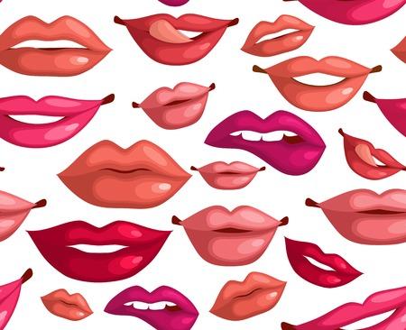 beso labios: Modelo inconsútil de los labios beso para valentín ilustración, diseño,