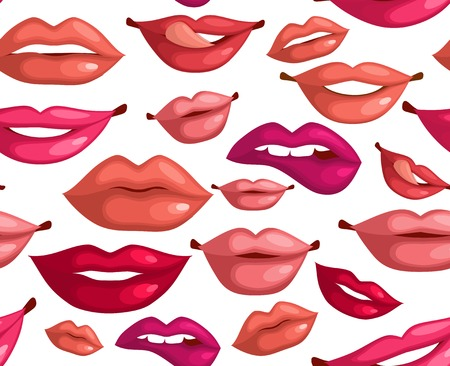 red lip: Seamless pattern of lips kiss for romance valentine design illustration