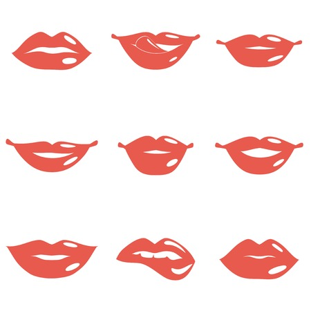 girl tongue: Set of mouth smile red sexy woman lips isolated on white illustration Illustration