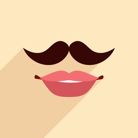 ms: Lips and mustache design in flat style for fashion  vintage hipster concept illustration