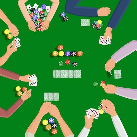 jeu de carte: Les gens jouant dans le jeu de poker sur la table verte avec la main et illustration de carte Illustration