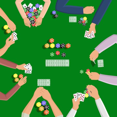 People playing in poker game on the green table with hand and card illustration Illustration