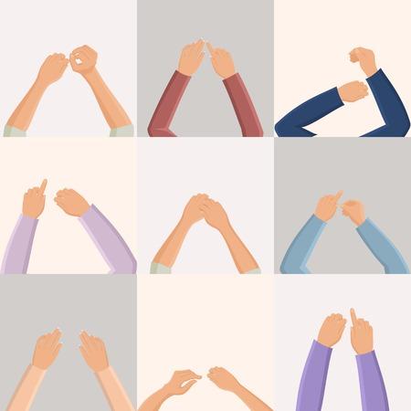 mujer hombre: Conjunto de par de manos femeninas iconos masculinos de estilo plano en cuadrados ilustraci�n