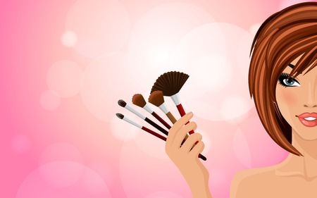 make up applying: Pretty woman with red hairs holding make up equipment on pink shiny background illustration