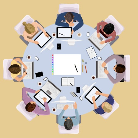 Top view concept of business meeting brainstorming professional people on the table illustration