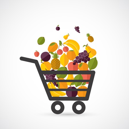 grocery cart: Shopping cart with fresh fruits concept in flat style illustration