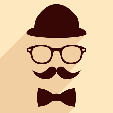 Hat glasses mustache bow tie flat hipster vintage design with long shadows illustration