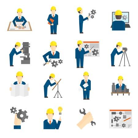 직업 과학 사용자 컴퓨터 인터페이스 그림은 평면 스타일로 건설 산업 엔지니어 노동자 아이콘의 집합