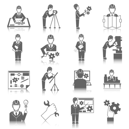 Set of construction industry engineer worker icons in gray color with reflection illustration Vettoriali