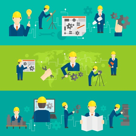 Civil professional mechanical science engineering concept flat business icons set of manufacturing management worker for line banners design illustration Vector