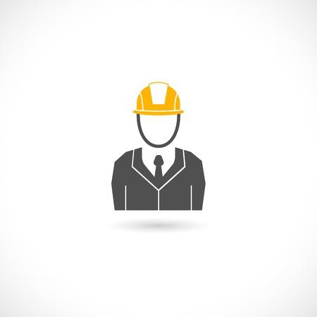 Engineer builder worker in orange helmet hat isolated icon illustration Vector