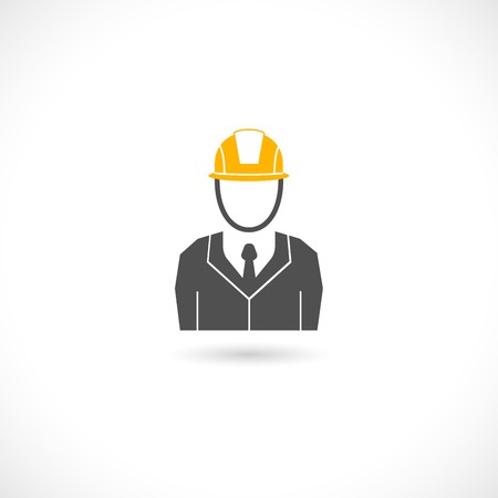 safety hat: Engineer builder worker in orange helmet hat isolated icon illustration