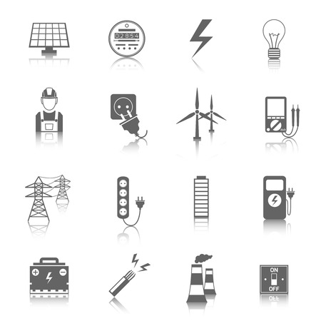 Set of electricity energy accumulator icons in grey color with reflection