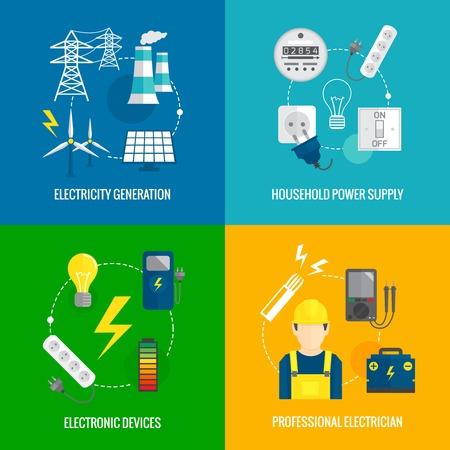 家庭用電源インフォ グラフィック デザイン web 要素イラストのための専門の電気技師の電気エネルギー概念フラット ビジネス アイコンを設定