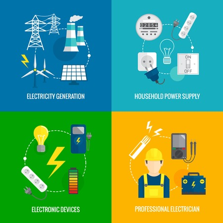 Electricity energy concept flat business icons set of household power professional electrician for infographics design web elements illustration Vector