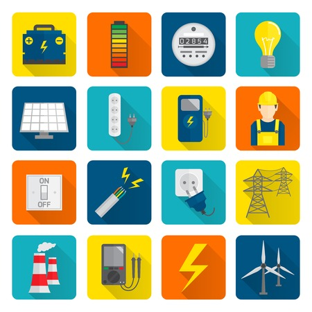 Set of electricity energy accumulator icons in flat style on squares with long shadows illustration Illustration
