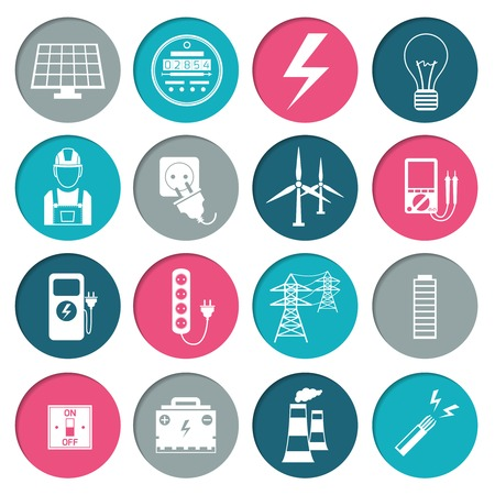 Electricity power energy icons set in white color on circles illustration Vector