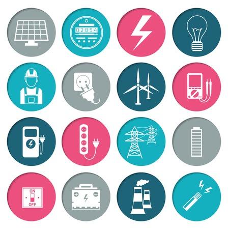 contador electrico: Iconos de la energía de alimentación de electricidad establecidos en el color blanco en los círculos de la ilustración