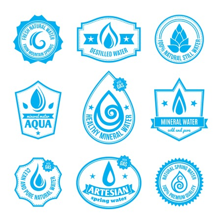 water quality: Set of mineral aqua water quality stamp label for bottles illustration