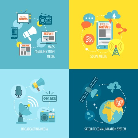 Radio newspaper live tv concept flat business icons set of mass communication social broadcasting for infographics design web elements illustration Çizim