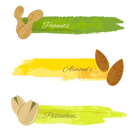 pistachio: Set of grunge colorful banners with pistachio almond nuts isolated on white illustration Illustration