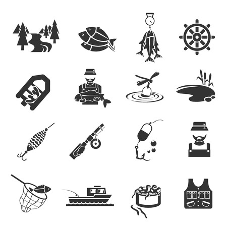 fisherman: Set of fish fisher hobby leisure icons in black gray color isolated on white illustration Illustration