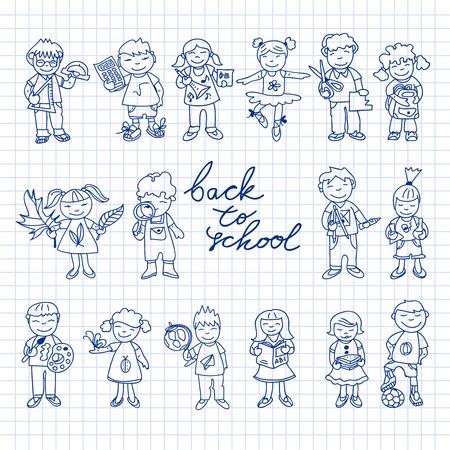 niños bailando: Conjunto de doodle de cartón estudio lindo niños de educación en la espalda de color a la ilustración de la escuela