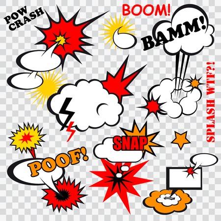 tiras comicas: Burbujas c�micas Boom encajen humor dise�o de la plantilla de la diversi�n para el libro de superh�roes ilustraci�n Vectores