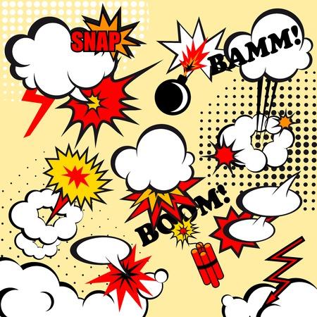 snap: Boom comic snap humor fun template design for superhero book illustration