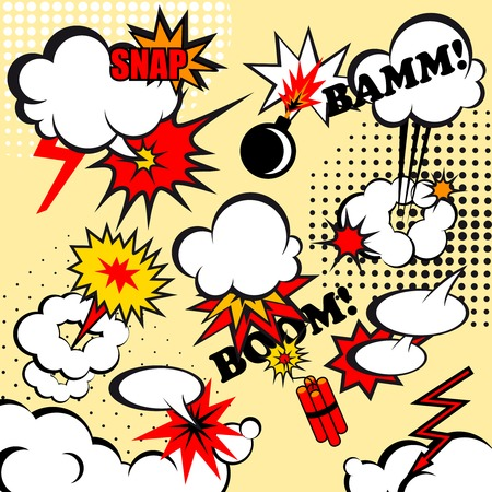 Boom comic snap humor fun template design for superhero book illustration