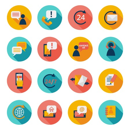 mail us: Customer care contacts flat icons set of online and offline support services isolated illustration Illustration
