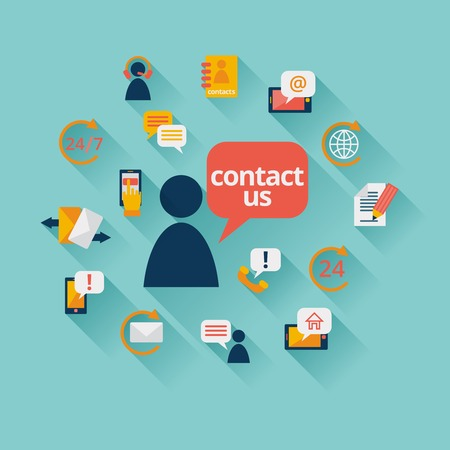 Contact us background with address call center customer service icons illustration Stock Illustratie