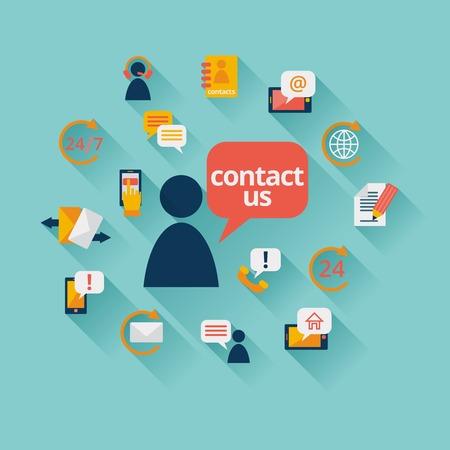 Neem contact met ons op, achtergrond, adres callcenter klantenservice pictogrammen illustratie
