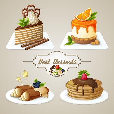 Decoratieve zoetigheden beste dessert set van pannenkoeken cheesecake gelaagde cake met siroop vectorillustratie Vector Illustratie