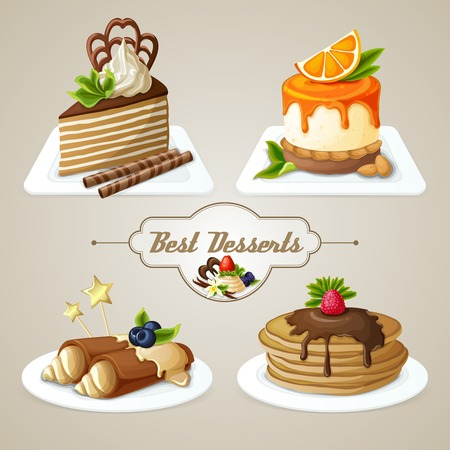 fruit cake: Decorative sweets best dessert set of crepes cheesecake layered cake with syrup vector illustration