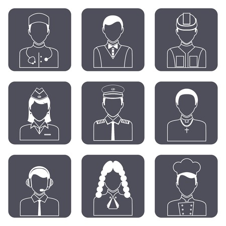 garrison: Avatar professions outline icons set of church priest engineer lawyer manager isolated vector illustration