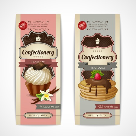 tearoom: Decorative sweets vertical retro banners collection with vanilla cream and pancakes isolated vector illustration